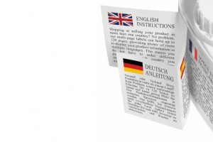 Multi language fold out leaflet label
